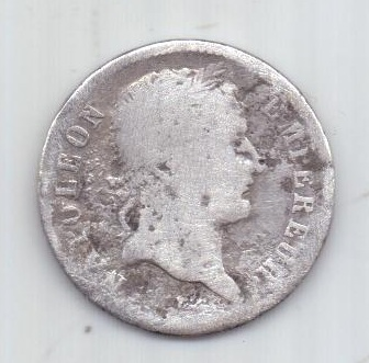 1 франк 1808 г. Ля Рошель. Наполеон. Франция