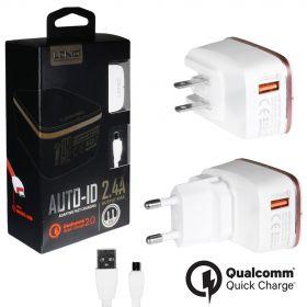 Зарядное устройство (1USB) 2,4A Quick Charge 2.0 + кабель micro usb