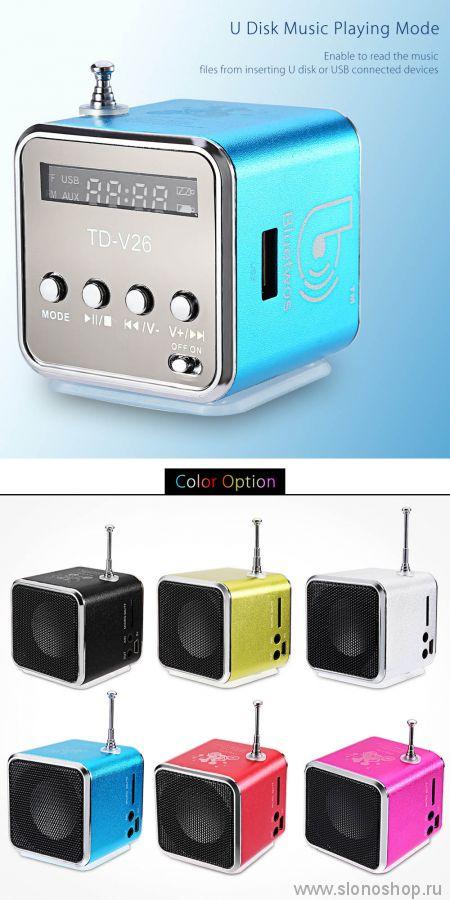 Портативная колонка (FM радиоприемник, AUX, USB, SD) с цветомузыкой