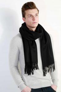 Роскошный большой плотный шарф, высокая плотность, 100 % драгоценный кашемир ,, расцветка Классика Чёрный Black Cashmere (премиум)