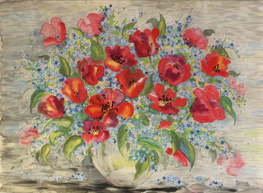Картина Тюльпаны и незабудки