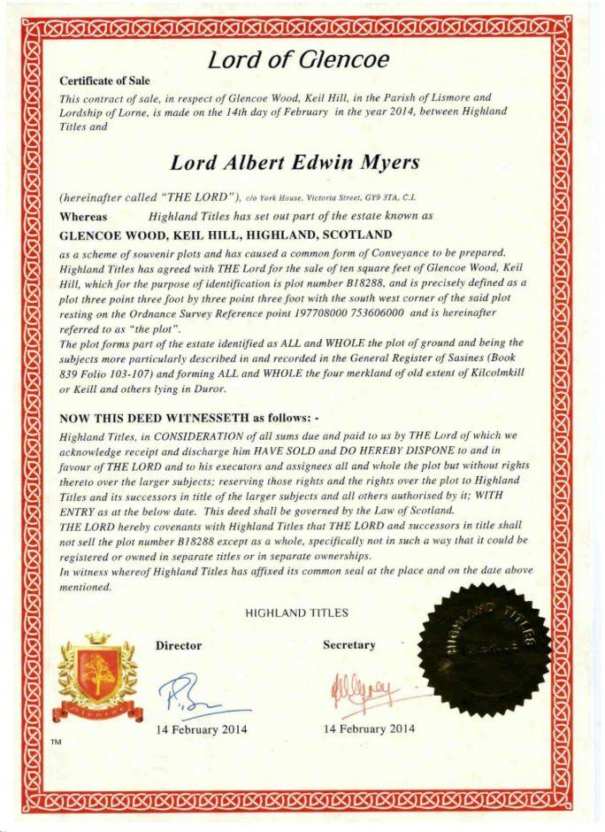 Титул Лорда или Леди и 1 квадратный фут земли в Шотландии (цифровая *PDF версия)
