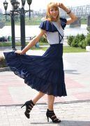 Темно-синяя юбка миди