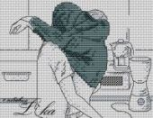 """Cross stitch pattern """"Kitchen couple""""."""