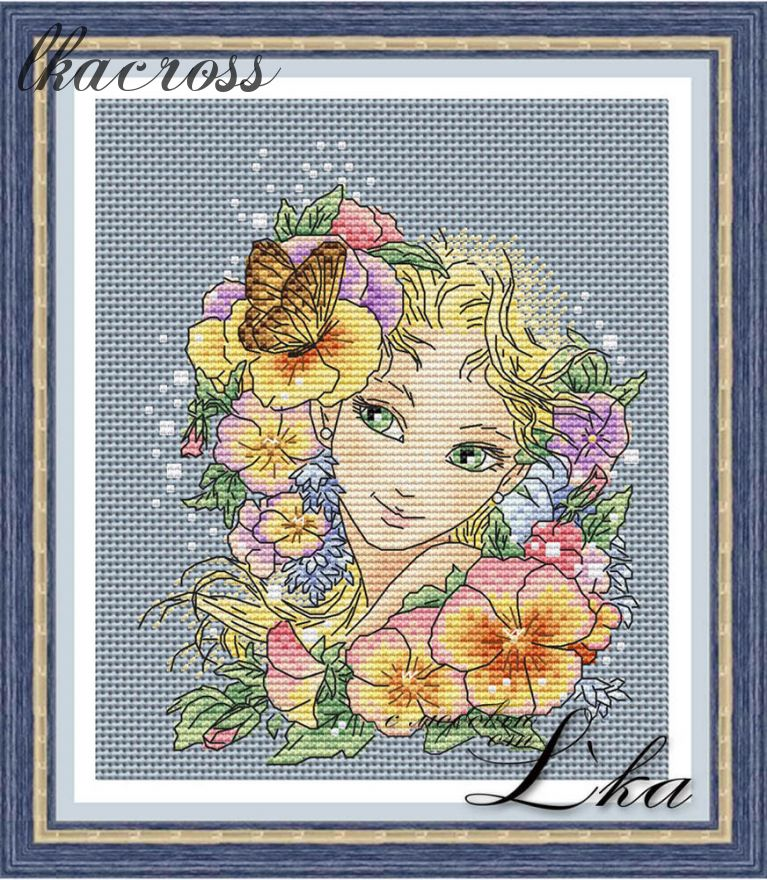 """Summer girl"". Digital cross stitch pattern."
