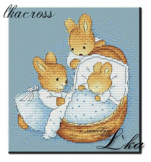 """Little bunny"". Digital cross stitch pattern."