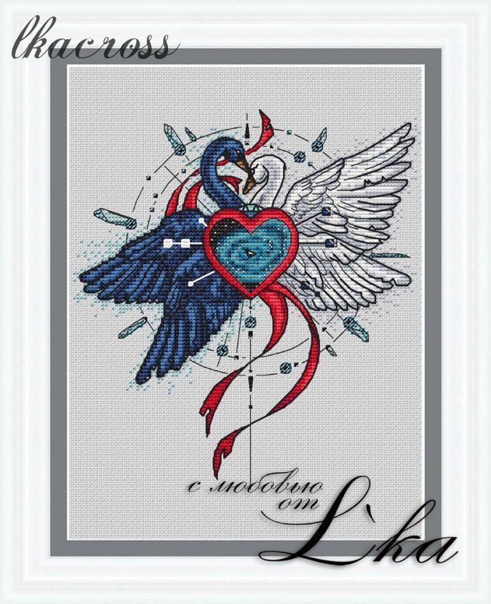 """Swans"". Digital cross stitch pattern."
