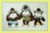 "Cross stitch pattern ""See No Evil, Hear No Evil""."