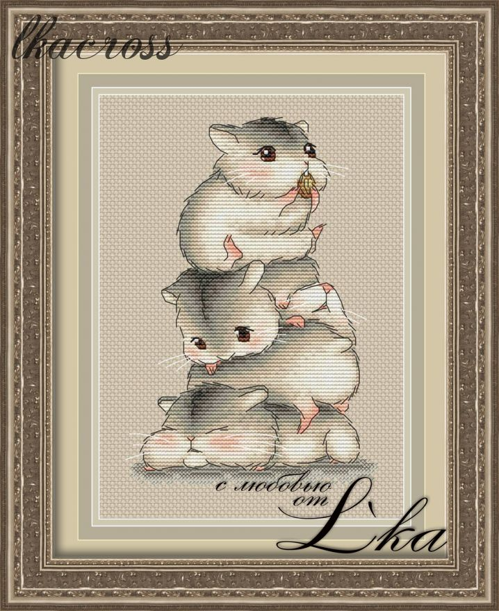 """Hamsters"". Digital cross stitch pattern."