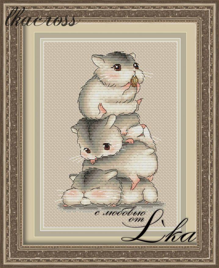 """Hamsters"". Digital cross stitch pattern."