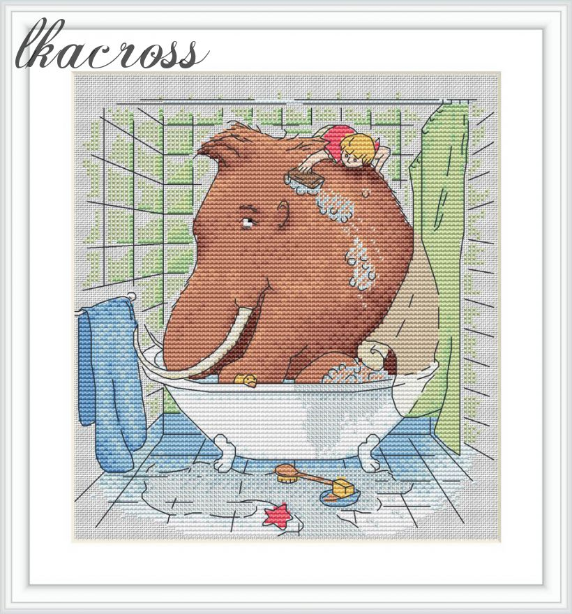 """In the bathroom"". Digital cross stitch pattern."