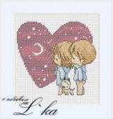 "Cross stitch pattern ""Heart""."