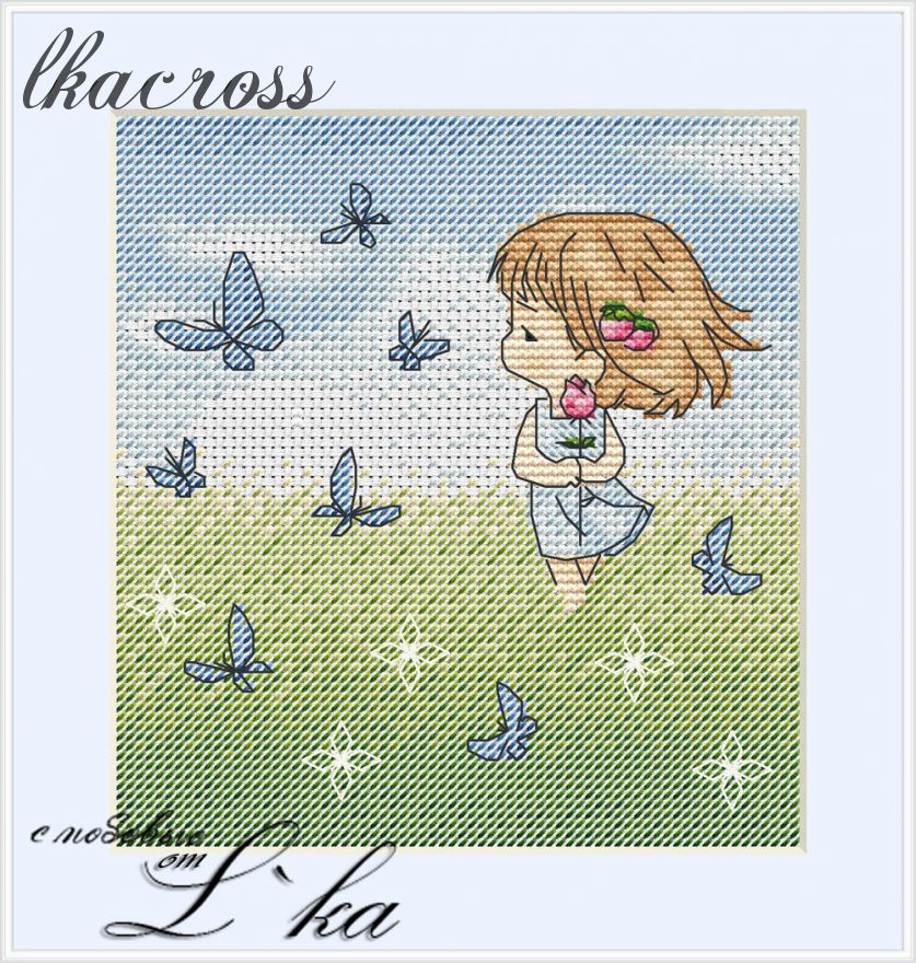 """Rose"". Digital cross stitch pattern."