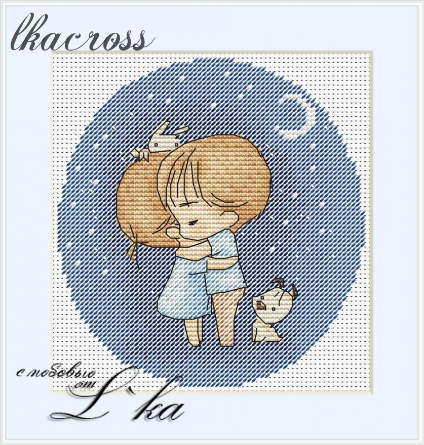 """Night"". Digital cross stitch pattern."