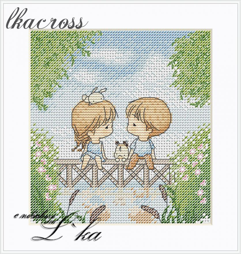 """On the bridge"". Digital cross stitch pattern."
