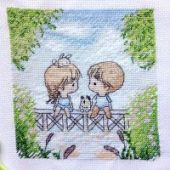 "Cross stitch pattern ""On the bridge""."