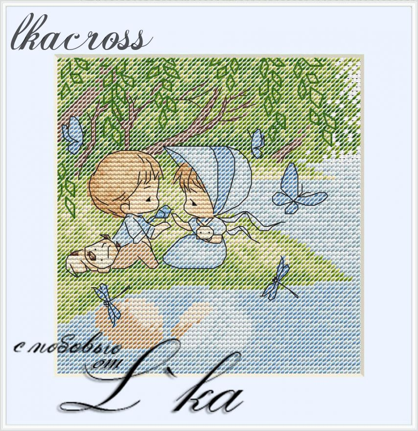 """On the shore"". Digital cross stitch pattern."