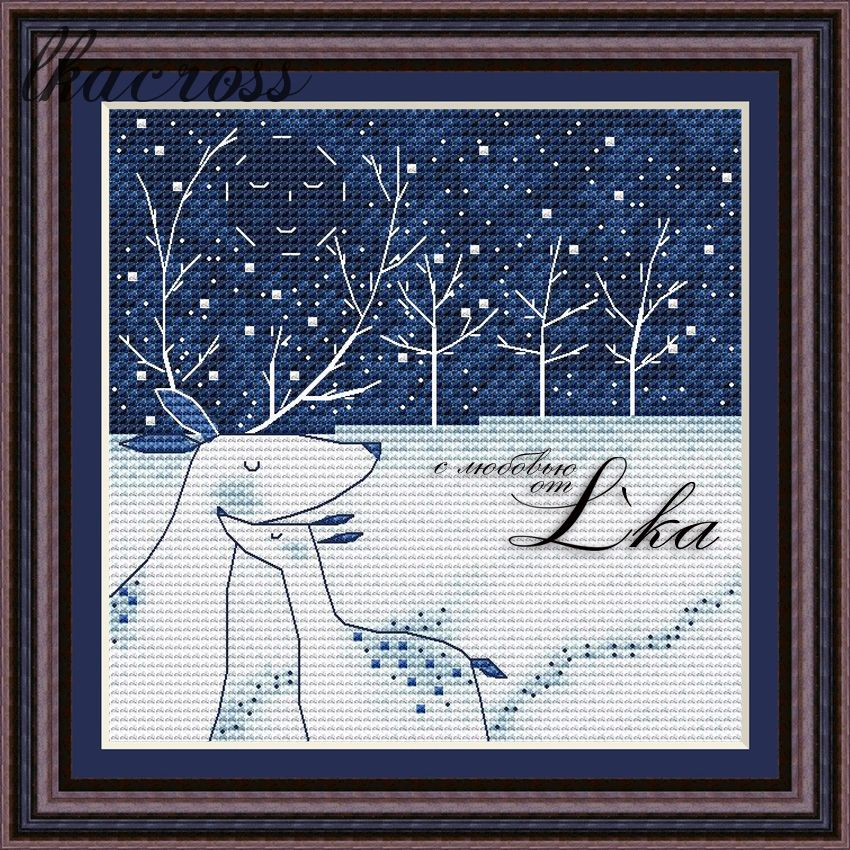 """Winter evening"". Digital cross stitch pattern."