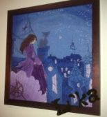 """Cross stitch pattern """"Witch on the roof""""."""