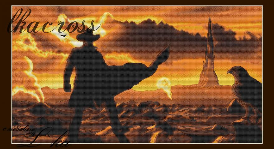 """Dark tower"". Digital cross stitch pattern."