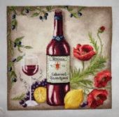 "Cross stitch pattern ""Vine Riserva1 - Red""."