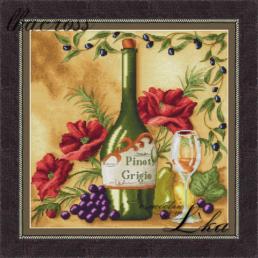 """Vine Riserva2 - White"". Digital cross stitch pattern."
