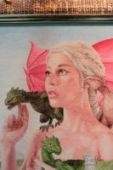 """Cross stitch pattern """"The mother of dragons""""."""