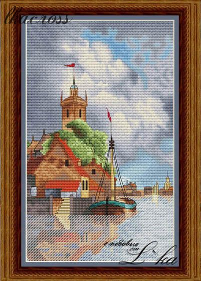 """Dutch harbour"". Digital cross stitch pattern."