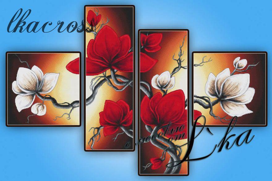 """""""Magnolia"""". Digital cross stitch pattern."""