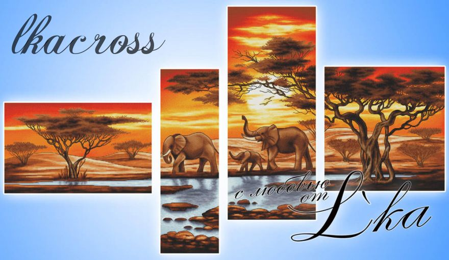 """Elephants near the stream"". Digital cross stitch pattern."