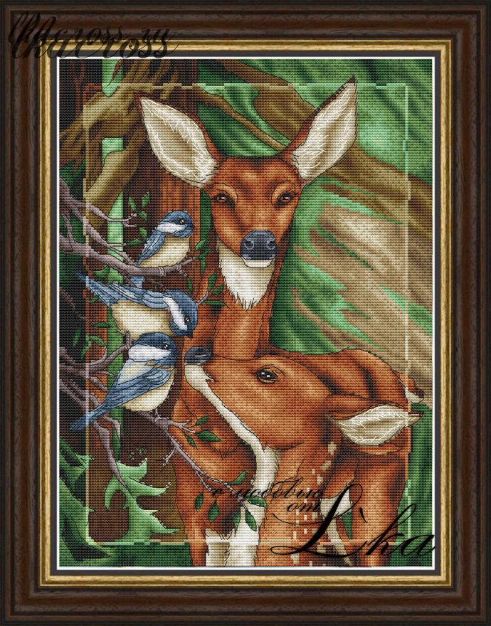 """Deer"". Digital cross stitch pattern."