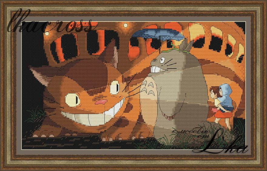 """My neighbor Totoro"". Digital cross stitch pattern."