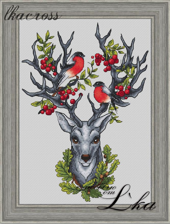 """Forest keeper"". Digital cross stitch pattern."
