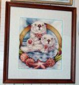 """Cross stitch pattern """"Otters""""."""