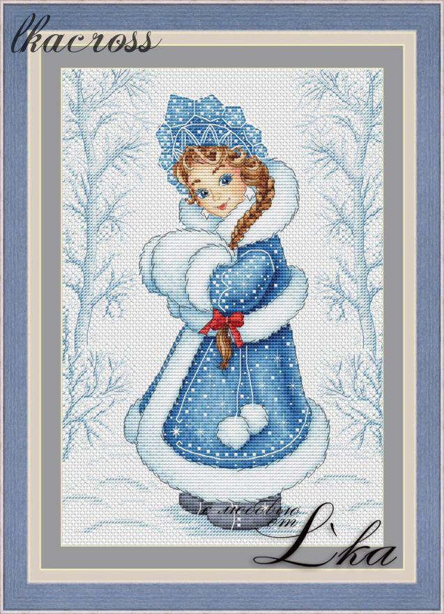 """Snowgirl"". Digital cross stitch pattern."