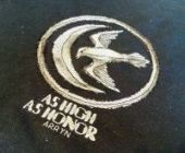 "Cross stitch pattern ""As High As Honor""."