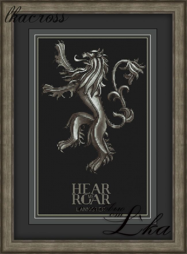 """Hear Me Roar"". Digital cross stitch pattern."