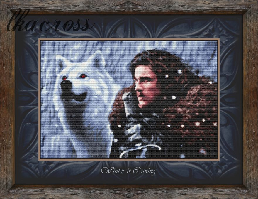 """Lord Snow"". Digital cross stitch pattern."