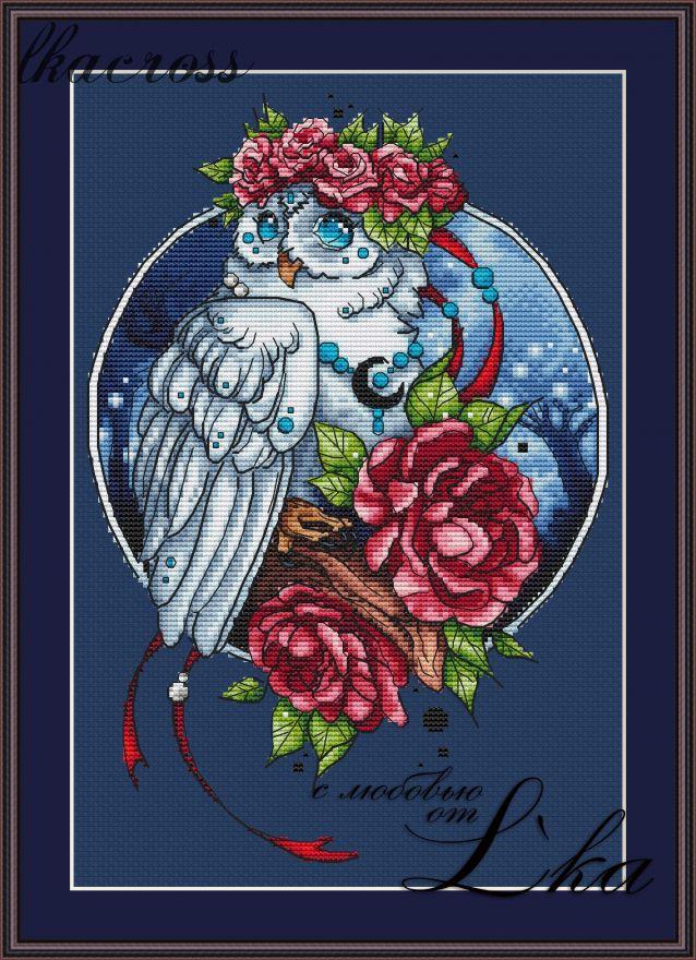 """Owl"". Digital cross stitch pattern."