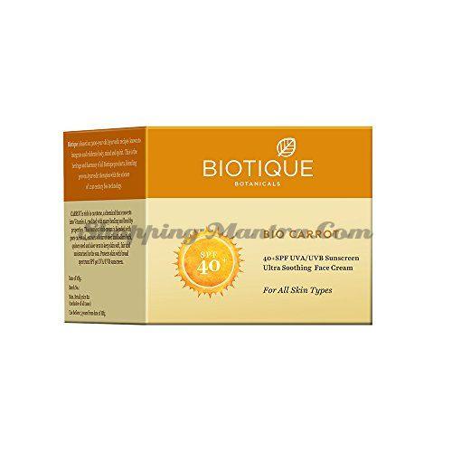 Крем для лица и тела Биотик Морковь SPF 40 | Biotique Bio Carrot Face Sun Cream