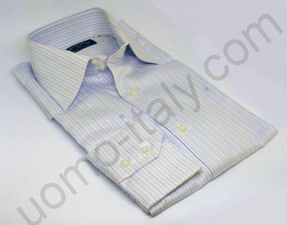 Рубашка мужская светло-серая в полоску двойного плетения (арт.Piave W3630)