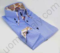 """(арт.221-3) Рубашка голубая с двойным воротником с контрастом """"в огурцы""""(Последний размер 39)"""
