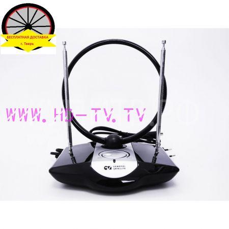 Антенна телевизионная комнатная с усилителем МВ+ДМВ AV-958