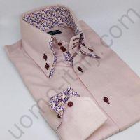 Мужская рубашка розовая с двойным воротником