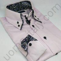 (арт.0121) Мужская рубашка розовая с двойным воротником в контрастные огурцы