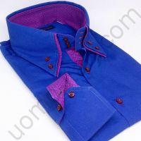 Мужская рубашка синяя с двойным воротником (последний размер 46)