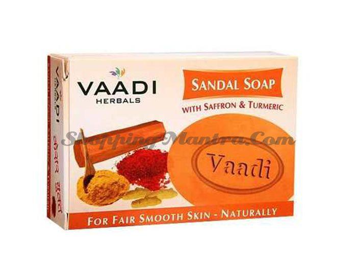 Отбеливающее мыло для лица Сандал&Шафран &Турмерик Вади (Vaadi Sandal&Saffron&Turmeric Soap)