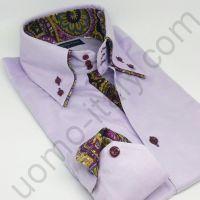 """(арт.2279) Рубашка мужская сиреневая с двойным воротником с контрастом """"в огурцы"""""""