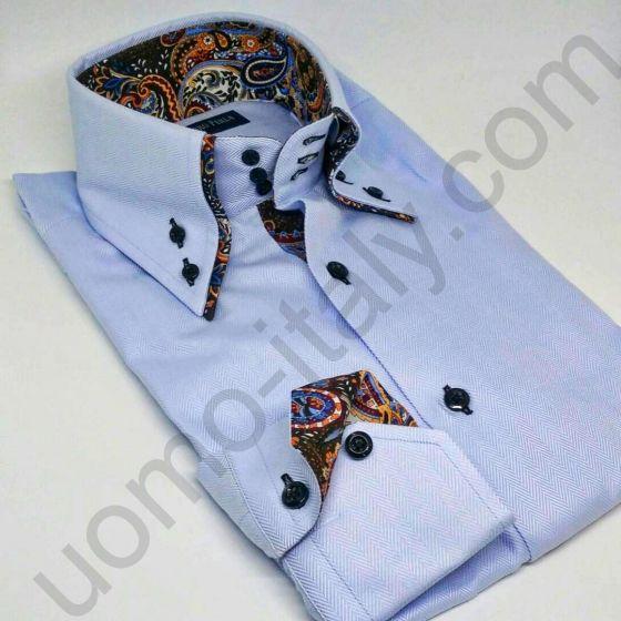 """Мужская рубашка Alessandro Perla голубая """"в елочку"""" с двойным воротником (арт.P221-2)(остался 39 раз.)"""