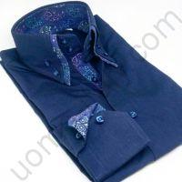 (арт.0015) Рубашка синяя с двойным воротником (последний размер 39)